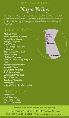 Heading to the Napa Valley soon? Lucky you. Whether this visit will be your first or twenty-first, it's smart to do some homework before you go. Here are Touring & Tasting's recommendations when visiting the Napa Valley. For more information, please visit: http://store.touringandtasting.com/blog/plan-your-trip-napa-valley