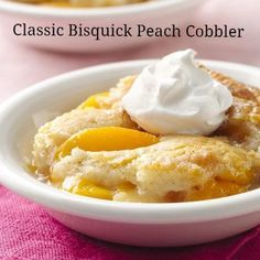 One of Bisquick's most popular recipes -- use canned, fresh or frozen peaches in Classic Bisquick® Peach Cobbler!