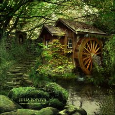 cottage and water-wheel