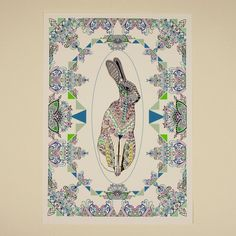 Colours+Hidden+in+Paper+Triangles++A4+Hare+by+prismofstarlings,+£15.00