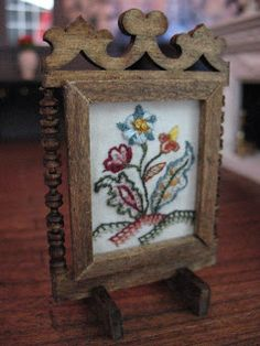 Firescreen tutorial to display miniature crewel work