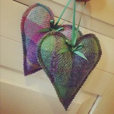 Lavender or chamomile stuffed Harris Tweed hanging hearts for the back of chairs.