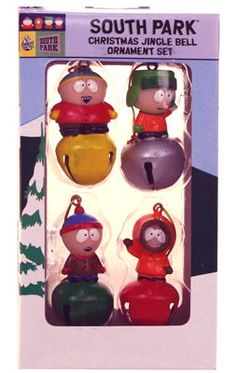 Celebrate the Holidays with the gang from South Park. Cartman, Stan, Kyle and Kenny are all featured atop individual jingle bells. Each colorful ornament measures approx. This is a decoration, not a child's toy. Christmas Tree Bows, Christmas Jingles, Xmas Ornaments, Xmas Tree, Christmas Fun, Art Activities For Kids, Art For Kids, South Park, Jingle Bells
