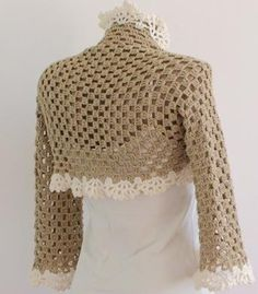 I like this idea - reminiscent of Gilet Crochet, Crochet Shrug Pattern, Crochet Coat, Crochet Jacket, Crochet Cardigan, Crochet Shawl, Crochet Clothes, Crochet Patterns, Crochet Baby Sandals