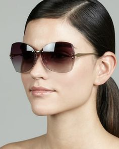 Rimless T-Temple Sunglasses, Gold/Violet at CUSP.