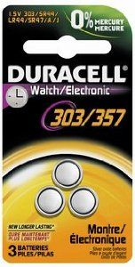 Duracell 303/357 Watch/Electronic Battery, 1.5 Volts 3 Count by Duracell. $4.79. Duracell makes dozens of specialty batteries for security and medical devices as well as digital cameras, watches, and electronics that may require smaller batteries or button batteries. It's reliable, efficient power in different shapes and sizes. Duracell with Duralock Power PreserveTM Technology means your specialty batteries now come with up to a 10-year guarantee in storage.  SAF...