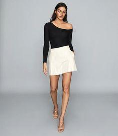 Jessie Black Ribbed-Knit Bodysuit – REISS Black N White, Reiss, Jessie, Trendy Outfits, High Fashion, Topshop, Women Wear, Mini Skirts, Ballet Skirt