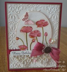 Pink and Raspberry WaterColored Card with Tatted by SusanG1952