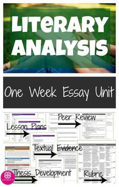 Teach literary analysis essay writing to high school students. Conclude any novel with this complete literary analysis essay unit. The lesson plans and student materials work to guide students through the writing process for a an insightful and analytical literary analysis essay on any novel, play, poetry, etc.