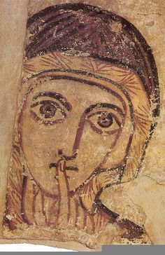 An century portrait of St Anne, the mother of the Virgin Mary from the ancient Nubian city of Faras between what is now Egypt and Sudan. St Anne, Religious Icons, Religious Art, Ancient Art, Ancient History, Ancient Egypt, Fresco, Art Ancien, Jesus Christus
