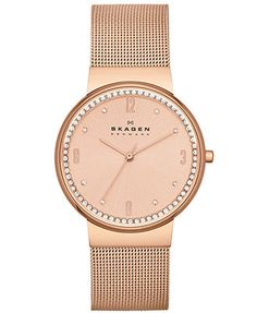 Skagen Denmark Women's Rose Gold-Tone Stainless Steel Mesh Bracelet Watch 34mm SKW2130