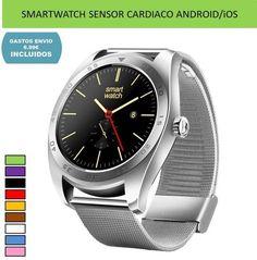 Reloj inteligente Smartwatch sensor ritmo cardiaco deportivo para moviles Android e iOS.
