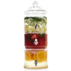 use for three different types of Sangria in one lovely serving container - would look great at any wedding or party!