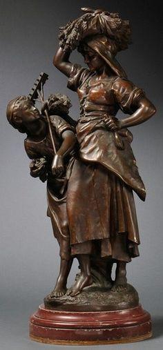 Moreau (Mathurin), after, Return from Harvest, Two Peasant Woman, 33 inch. Art Sculpture, Bronze Sculpture, Effigy, Metal Art, Les Oeuvres, Harvest, Art Deco, Statue, Glass