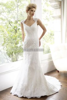 Sheath Natural Waist Chapel Train Lace Queen Anne Wedding Dress