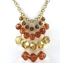 Vintage Amber and Topaz Waterfall Necklace