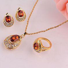 Fashion Wedding 14k Gold Filled Austrian Crystal Necklace Earring Ring Set