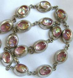 Mexican Fire Opal Necklace Vintage Glass Jelly Opal Silver Antique Jewelry