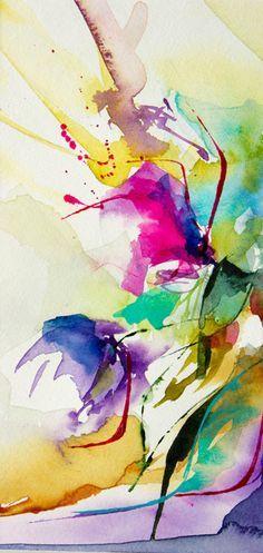Petit instant N° 211 (Peinture), 10x20 cm par Véronique Piaser-Moyen Aquarelle originale sur papier 300 G
