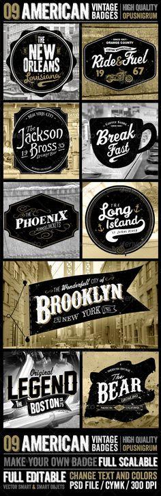 American Vintage Badges - Badges & Stickers Web Elements