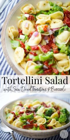Cheese tortellini combined with sun dried tomatoes and broccoli in a zesty Italian vinaigrette dressing is a hearty cold pasta salad. #pasta #salad #tortellini