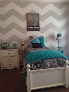 Zigzag Wall Decoration On Chic Tiffany Blue Bedroom Ideas Feat Narrow Bed And Modern Bedside Chest Of Drawer