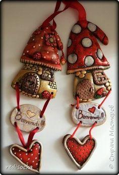 Поделка изделие Лепка Домики - грибочки  Тесто соленое фото 1