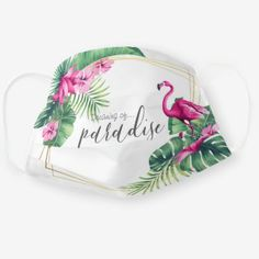Shop Flamingo Paradise Cloth Face Mask created by SojoyeCo. Nose Mask, Face Masks, Flamingo Decor, Tropical Style, Fashion Face Mask, Sewing Patterns Free, Household Items, Snug Fit, Sensitive Skin