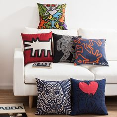Keith Haring's Masterpiece Sofa Office Linen Cushion Cover Pillow... ($13) ❤ liked on Polyvore featuring home, home decor, throw pillows, array0x9c90708, rabbit home decor, rabbit throw pillow, linen throw pillows and bunny home decor
