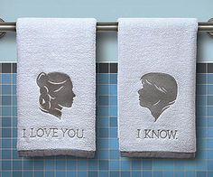 Commemorate one of the most endearing love scenes in cinematic history with the Han and Leia hand towels. Each cotton towel comes embroidered and monogrammed...
