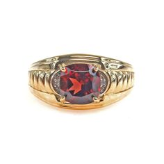Men's Garnet and Gold Ring