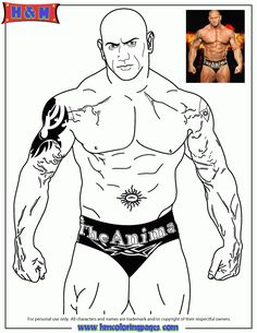 world wrestling entertainment wwe batista the animal coloring page - John Cena Coloring Pages