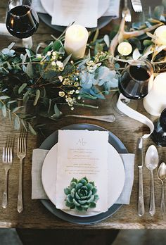Ready to check out some of our favorite ways to include succulents in your big day? Then click through to see 20 ideas that will have you booking a summer wedding date in no time.  Photo: Add a succulent to each place setting to amp up the style of your reception tables. Paired with understated greenery centerpieces, as seen here created by Floral Earth, the cacti becomes a key part of the décor.