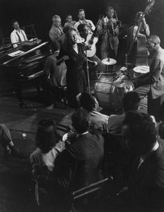 Billie Holiday sings 'Fine and Mellow,' a blues recorded for Commodore Label. She has most distinctive style of any popular vocalist, is imitated by other vocalists.