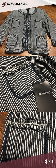 Karen Kane rhinestone jacket NEW sz M Karen Kane New with tags rhinestone detail jacket in navy/denim   Retail for 138.00. Size M Karen Kane Jackets & Coats