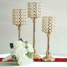 Gold Votive Candle Holders, Small Candle Holders, Candle Holders Wedding, Gold Candles, Candle Holder Set, Votive Candles, Chandelier Centerpiece, Gold Centerpieces, Chandelier Wedding