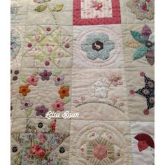 Hand quilting on my Stonefields. By Lisa Egan