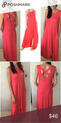 🔴Final Price🔴 Coral Maxi Dress Cross Back Maxi Dress Hi-Lo Cross Back Maxi Dress Oh my! Super cute maxi dress with cross back detail. Side pockets.  Personal note sbwr Dresses Maxi