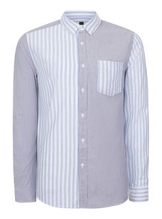 Blue and White Stripe Button Down Casual Shirt Button Down Collar, Button Downs, Stripes Design, Casual Shirts, Blue And White, Shirt Dress, Fitness, Model, Cotton