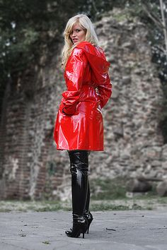 Red PVC Raincoat | Things to Wear | Pinterest | Pvc raincoat and ...