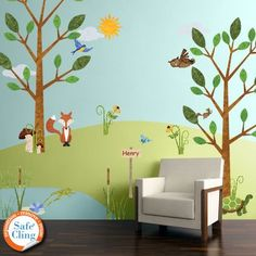 My Wonderful Walls Forest Multi Peel and Stick Removable Wall Decals Woodland Critters Theme Wall Mural Jumbo Set) – The Home Depot – Kids Room 2020 Forest Room, Forest Mural, Forest Theme, Forest Nursery, Woodland Theme, Fox Nursery, Boys Wall Stickers, Nursery Wall Decals, Kids Wall Murals