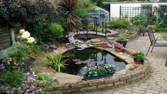 small-backyard-pond-ideas-mixed-with-three-small-flower-pots-and-black-iron-chair-over-floor-tile-plus-wooden-bridge.jpg (1280×720)
