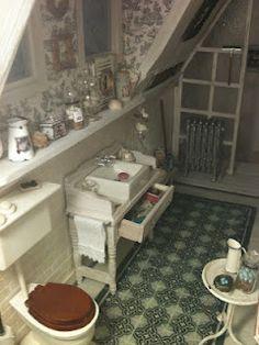 great miniature dollhouse blog, shabby chic Badezimmer für das Puppenhaus