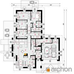 Dom w amarantusach 3 Autocad, Planer, Interior And Exterior, House Plans, Villa, Floor Plans, Relax, Home And Garden, Cottage