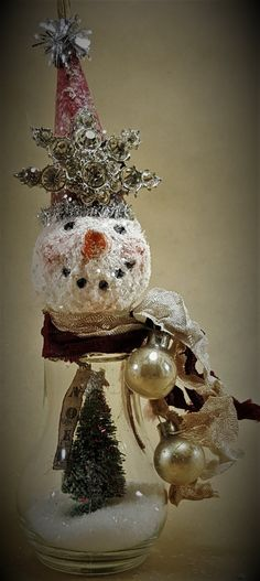 "SNOWMAN Assemblage Ornament, Mixed Media Original, Christmas Ornament, ""NOEL WINTERS"" Handmade by Lori Cottam"