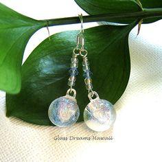 Radiant Glass Dangle Earrings Fused Dichroic by GlassDreamsHawaii