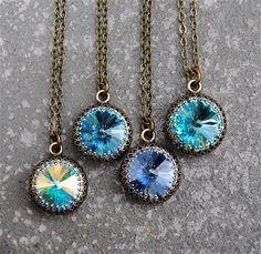 Aurora Borealis Aqua Soft Cornflower Blue Turquoise Crown Necklace Swarovski Crystal Victorian Bridesmaid Necklace Mashugana