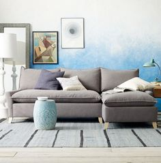 love the ombre blue to white wall mixed with white & greys