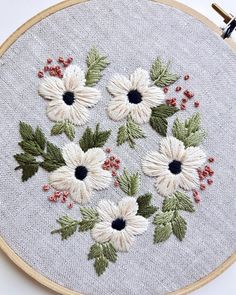 Summer Flowers Embroidery Hoop Art - Ready To Ship This is a one of a kind piece of artwork framed in a 6 hoop. It is ready to hang as the embroidery hoop acts as a frame. The back of the stitching is covered with high quality card stock & stamped with th Hand Embroidery Videos, Embroidery Flowers Pattern, Learn Embroidery, Hand Embroidery Stitches, Embroidery Hoop Art, Hand Embroidery Designs, Cross Stitch Embroidery, Embroidery Supplies, Ribbon Embroidery