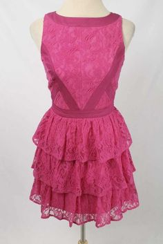 Keepsake Sz S Hot Pink Lace Ruffle Skirt Trim Detail Fit & Flare Dress 1476 L417  | eBay